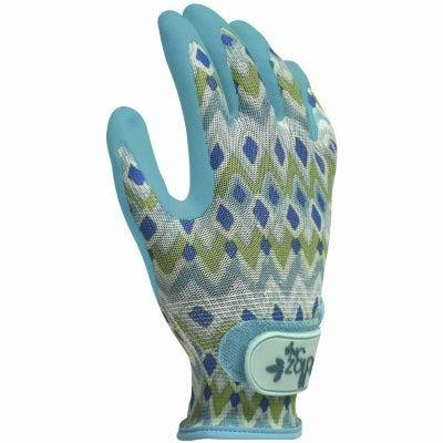 Digz Grip Latex Free Coated Garden Gloves - Large, Blue/Green