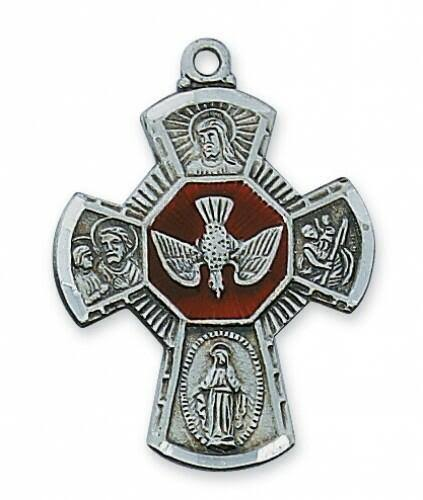 Enameled 4-Way Holy Spirit Medal with 24 inch Necklace