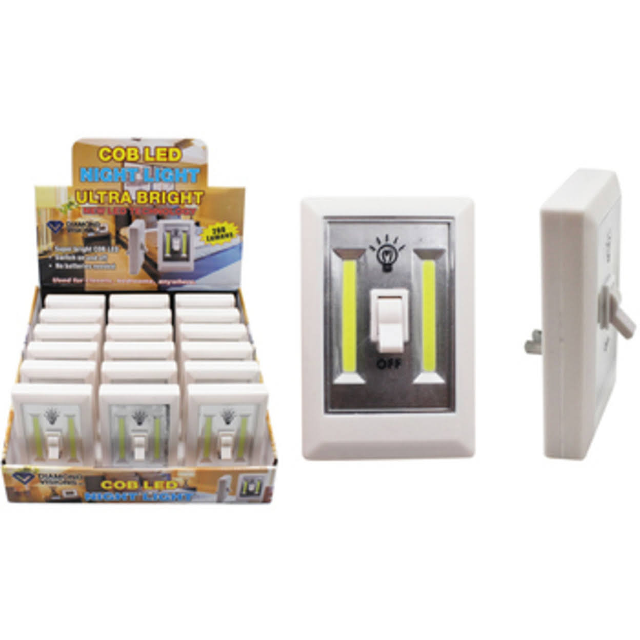Diamond Visions COB LED Plug In Light Switch - White, 200 Lumens
