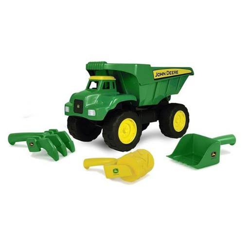 Tomy John Deere Diecast Big Scoop Dump Truck Toy Truck - with Sand Tools, 38cm