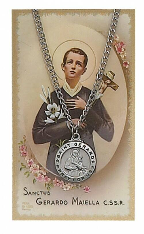 St. Gerard Pewter Medal Pendant Necklace with Holy Prayer Card - 3/4""