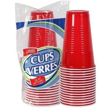 Red 16 0z Plastic Party Cups