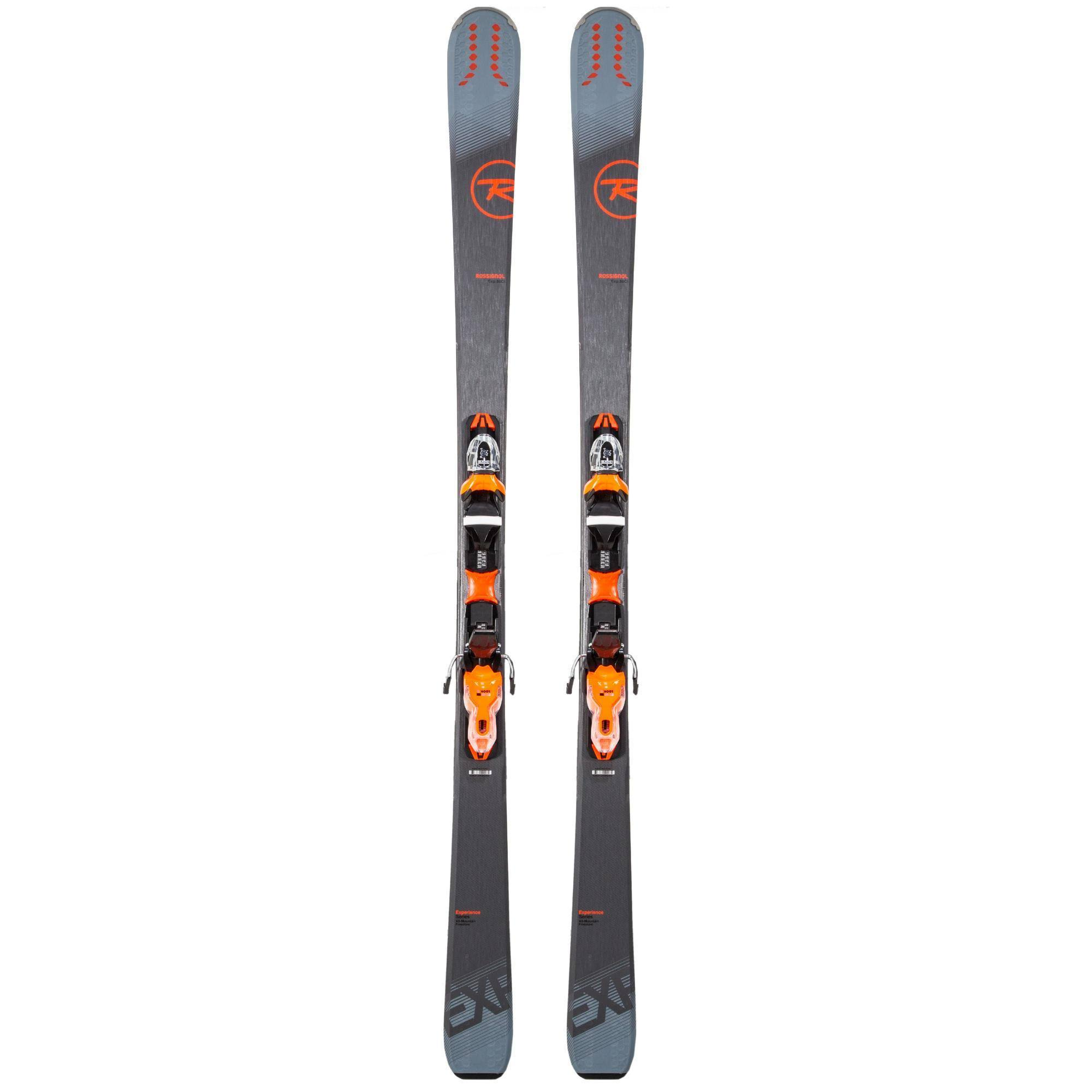 Decathlon Mens Rossignol All Mountain Experience 80 Ci with Bindings Ski - Gray/Orange