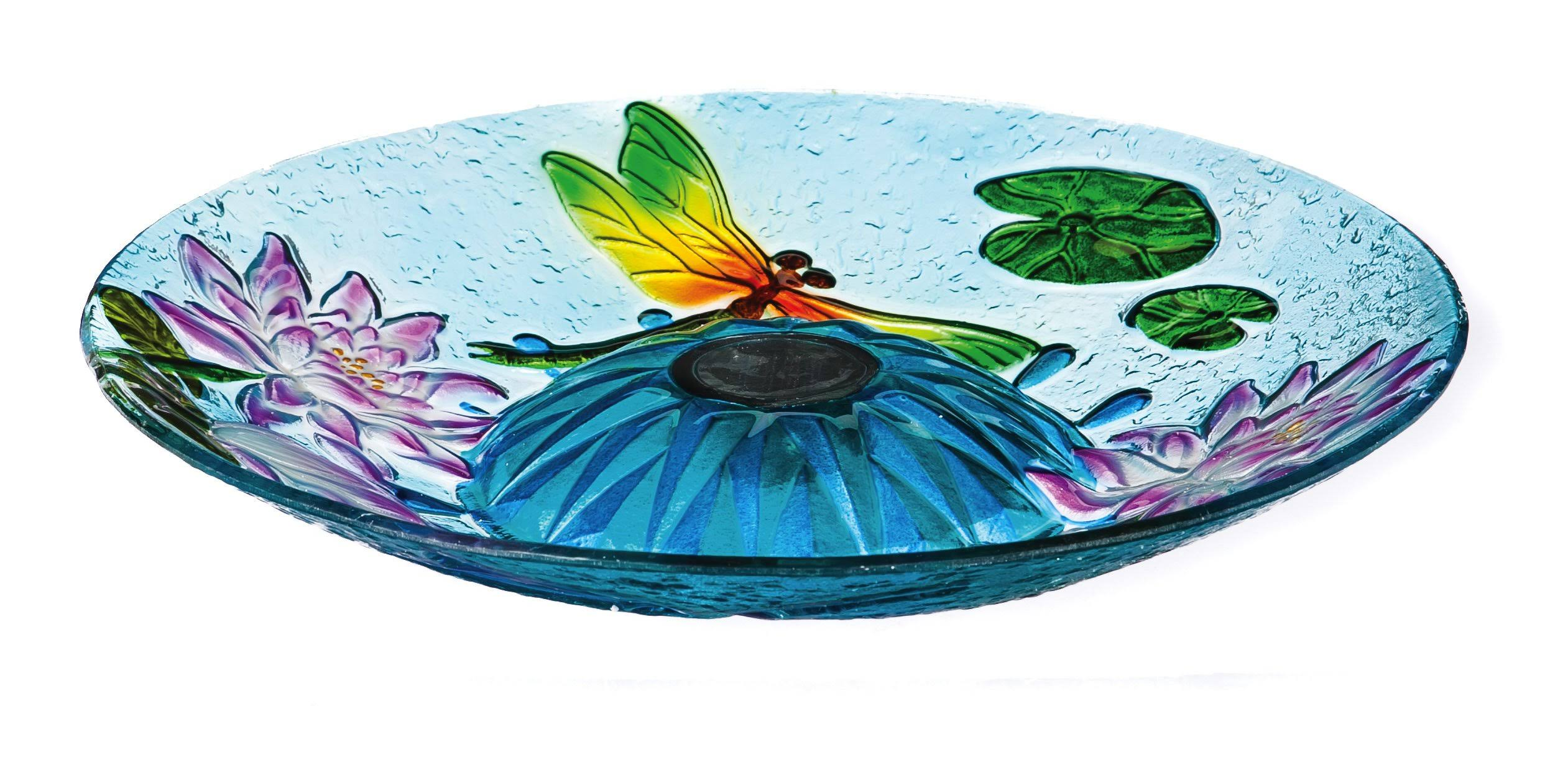 Evergreen 18 in. Dancing Dragonflies Solar Birdbath