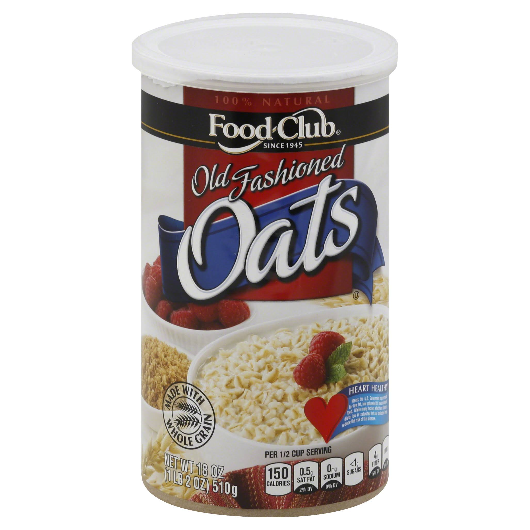 Food Club Oats, Old Fashioned - 18 oz