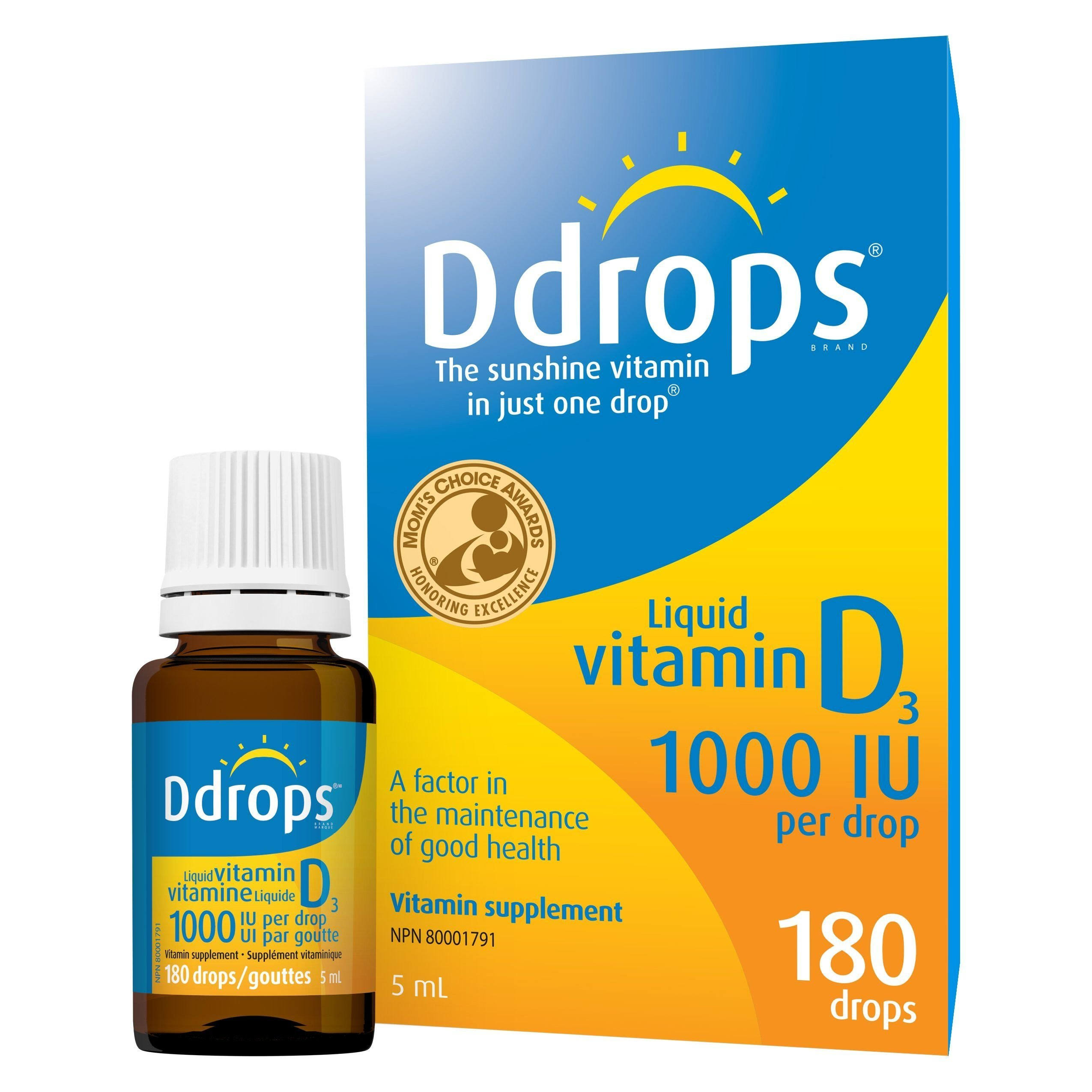Ddrops Vitamin D Liquid - 1000 UI, 180 Drops, 5ml