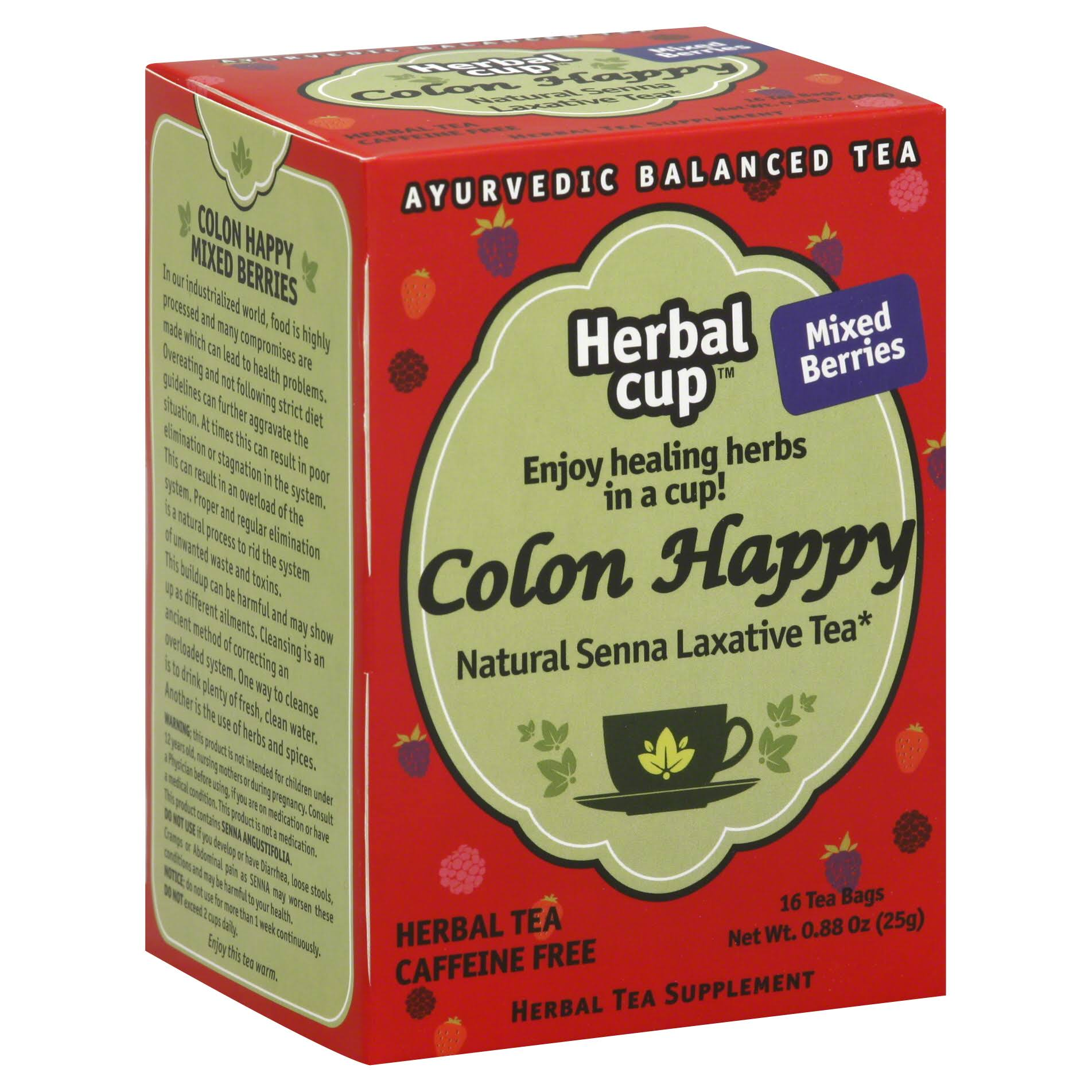 Herbal Cup Colon Happy Natural Senna Laxative Tea - Mixed Berries, x16