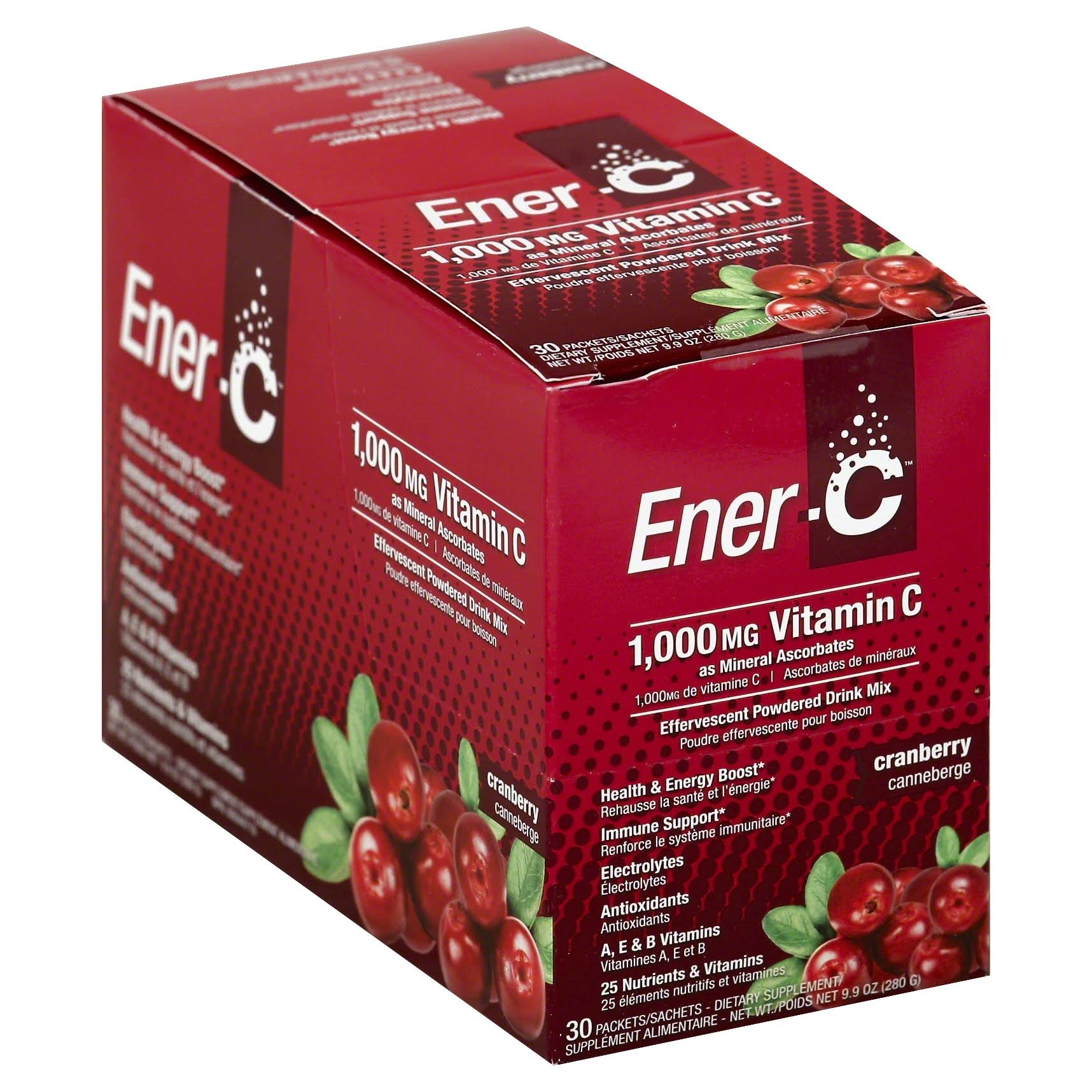 Ener-C Vitamin C Effervescent Drink Mix - Cranberry, 1000mg, 30pk