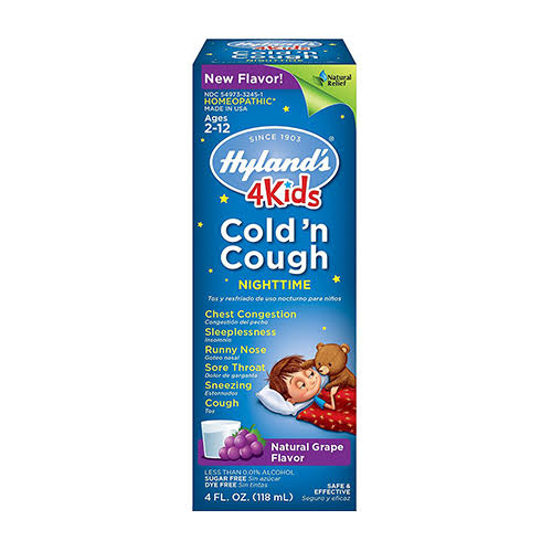 Hyland's 4kids Cold 'n Cough Liquid Nighttime - Grape