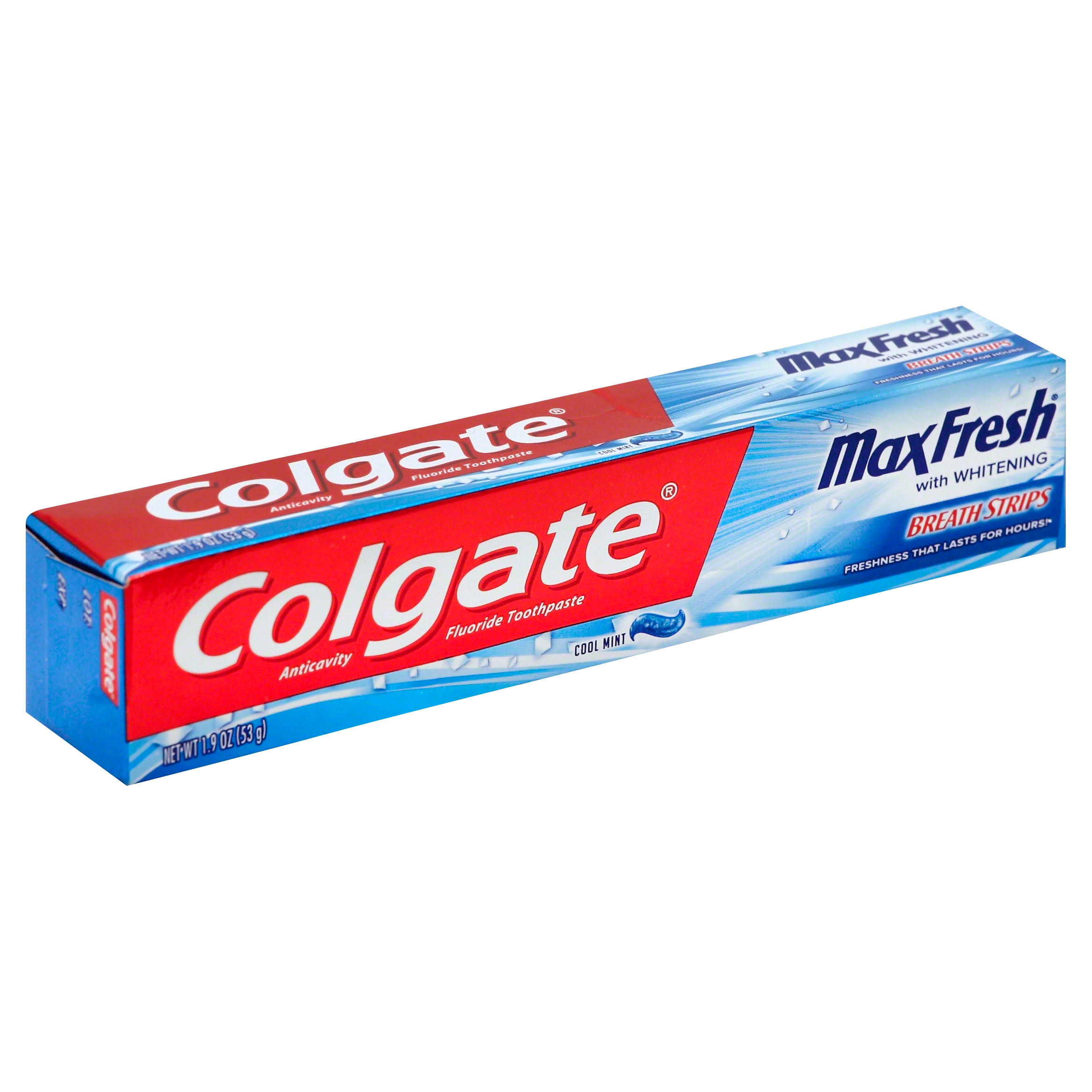 Colgate MaxFresh with Whitening Breath Strips Toothpaste - Cool Mint, 1.9oz
