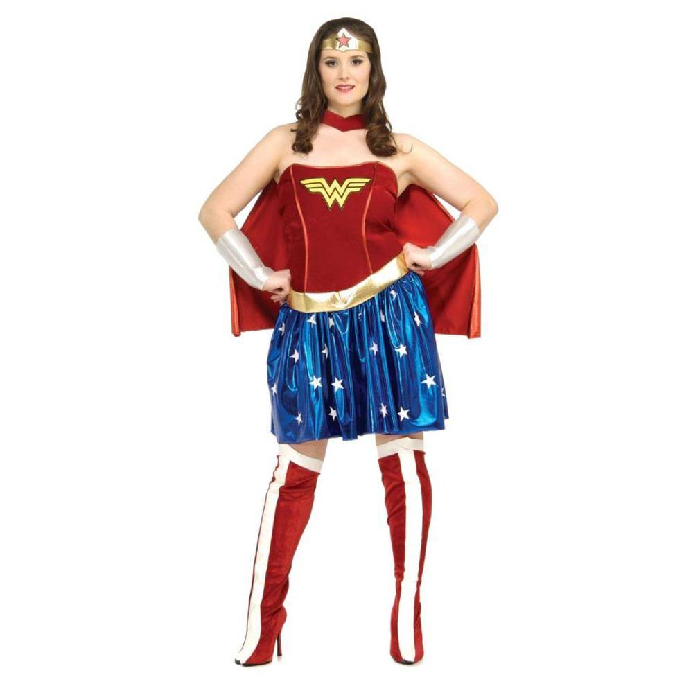Rubie's Costumes Women's Plus Size Deluxe Wonder Woman Costume, Blue/Red, Size 14-16