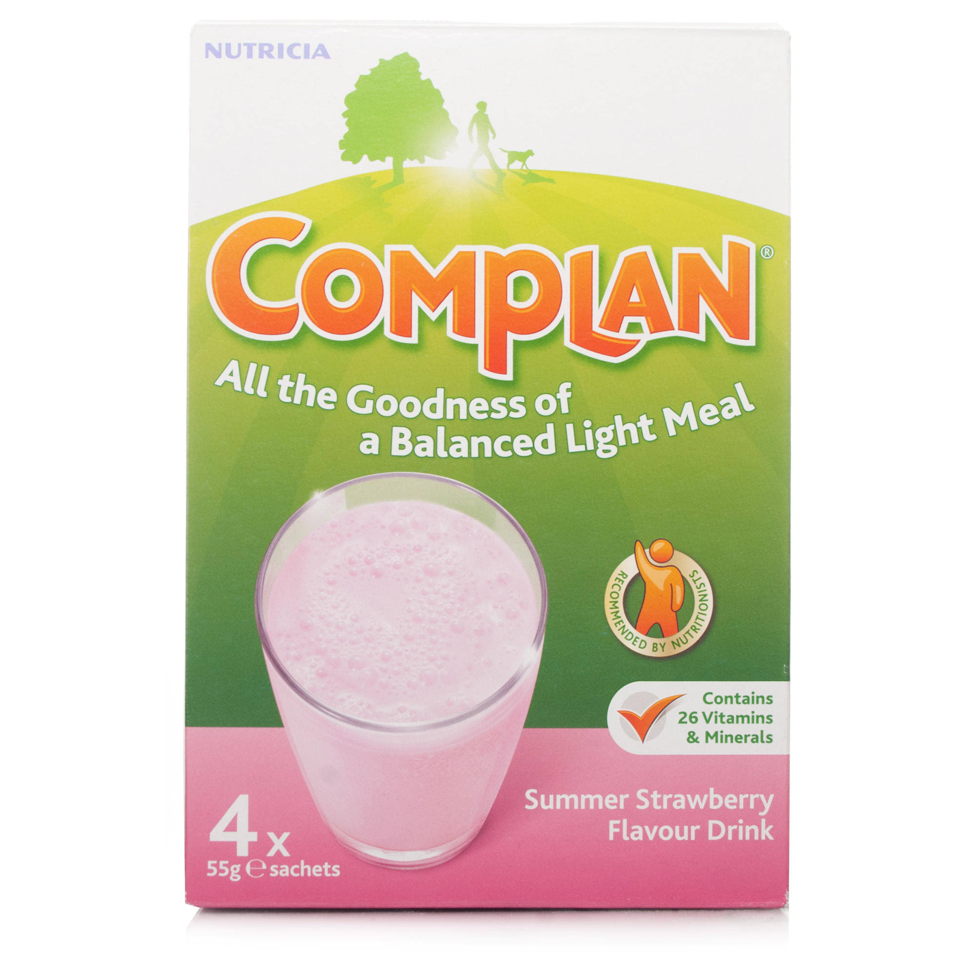 Complan Nutritious Vitamin Rich Drink - Summer Strawberry, 55g, 4 Count