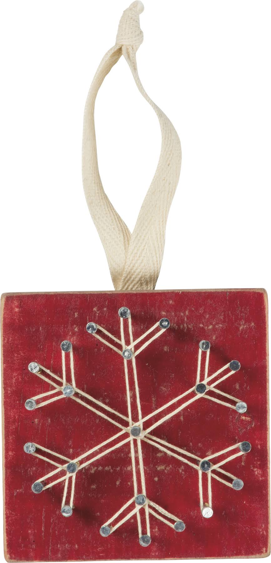 Primitives by Kathy Red Snowflake String Art Ornament One-Size