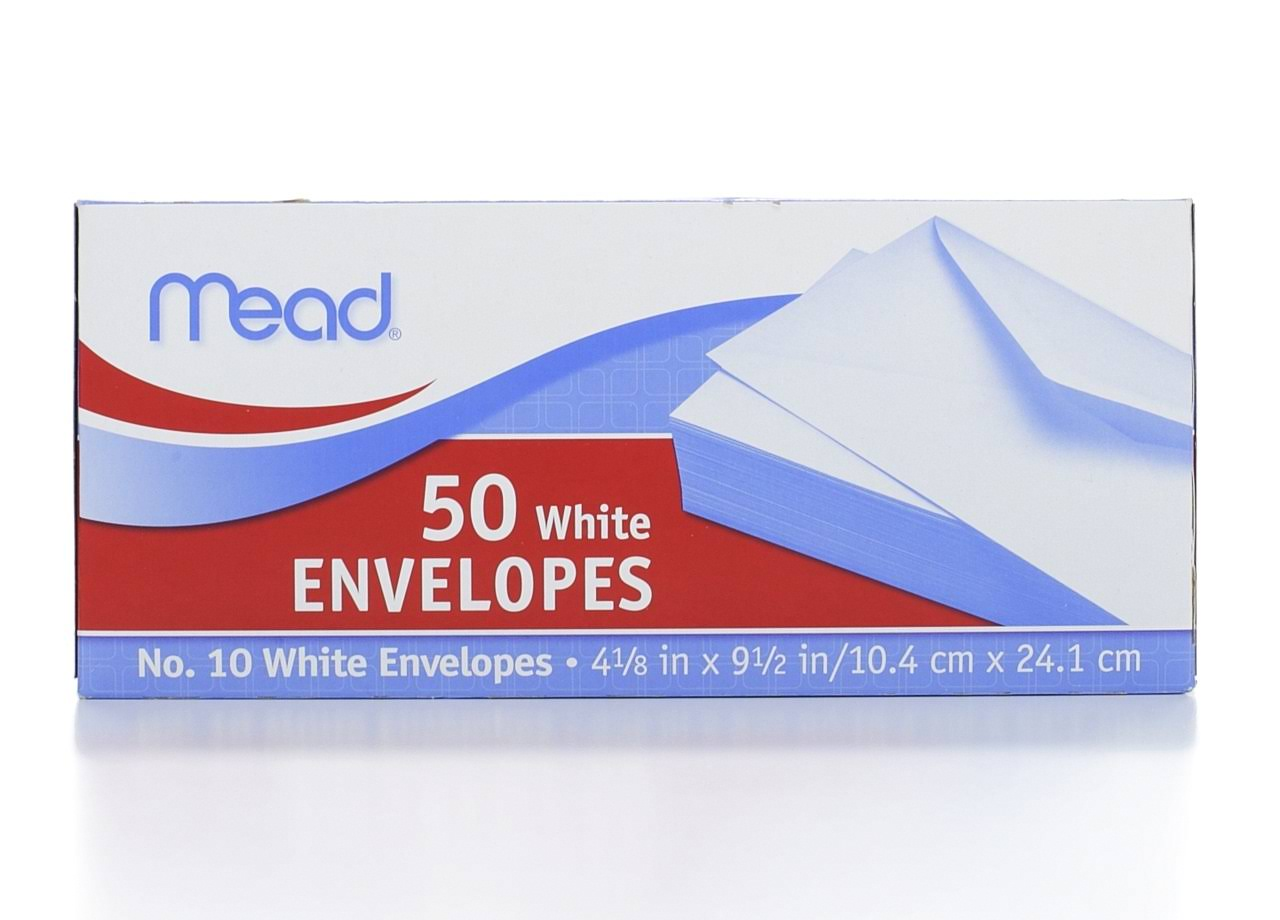 Mead White Envelopes - 4 1/8 in x 9 1/2 in, x50