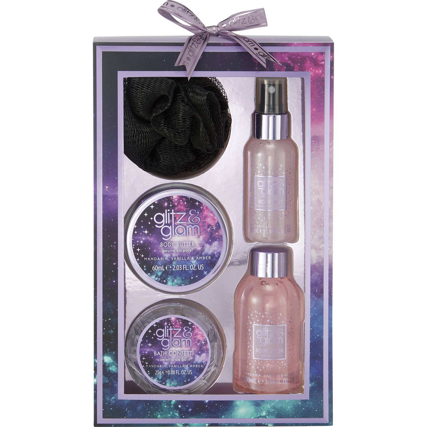 Style & Grace Glitz & Glam Galaxy Supercluster Bath Gift Set 50ml Body Mist, 100ml Body Wash, 25g Bath Confetti, 60ml Body Butter, Shower Flower