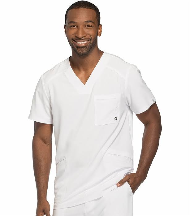 Cherokee CK900A Men's V-Neck Top - White - M
