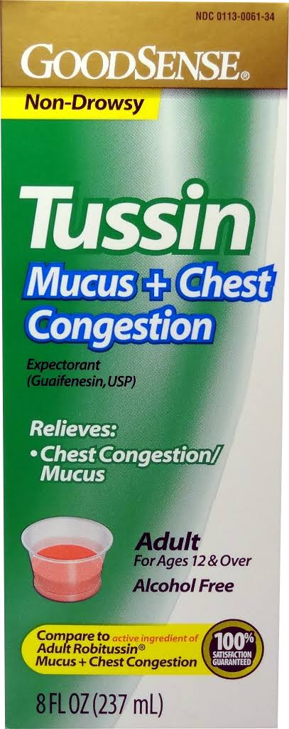 GoodSense Tussin Cough Formula 8 oz - Case of 24