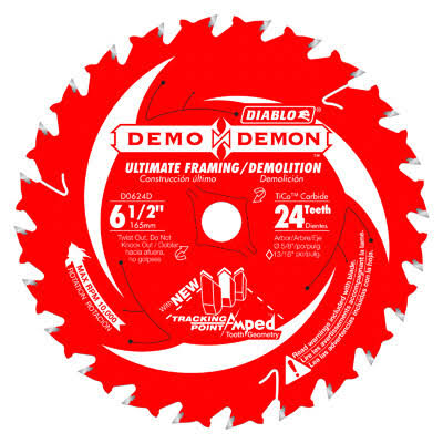 Diablo Demo Demon Circular Framing Saw Blade - 6 1/2'', 24 Teeth