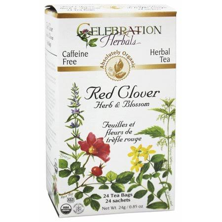 Celebration Herbals Organic Caffeine Free Herbal Tea - Red Clover Herb and Blossom, 24 Herbal Tea Bags