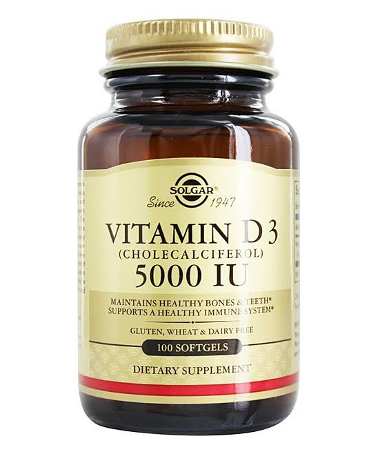 Solgar Vitamin D3 Cholecalciferol 5000 IU Dietary Supplement - 100 Softgels