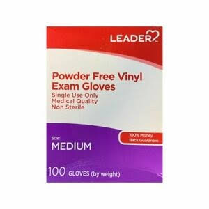 Leader Powder-Free Vinyl Exam Gloves, 100 ct