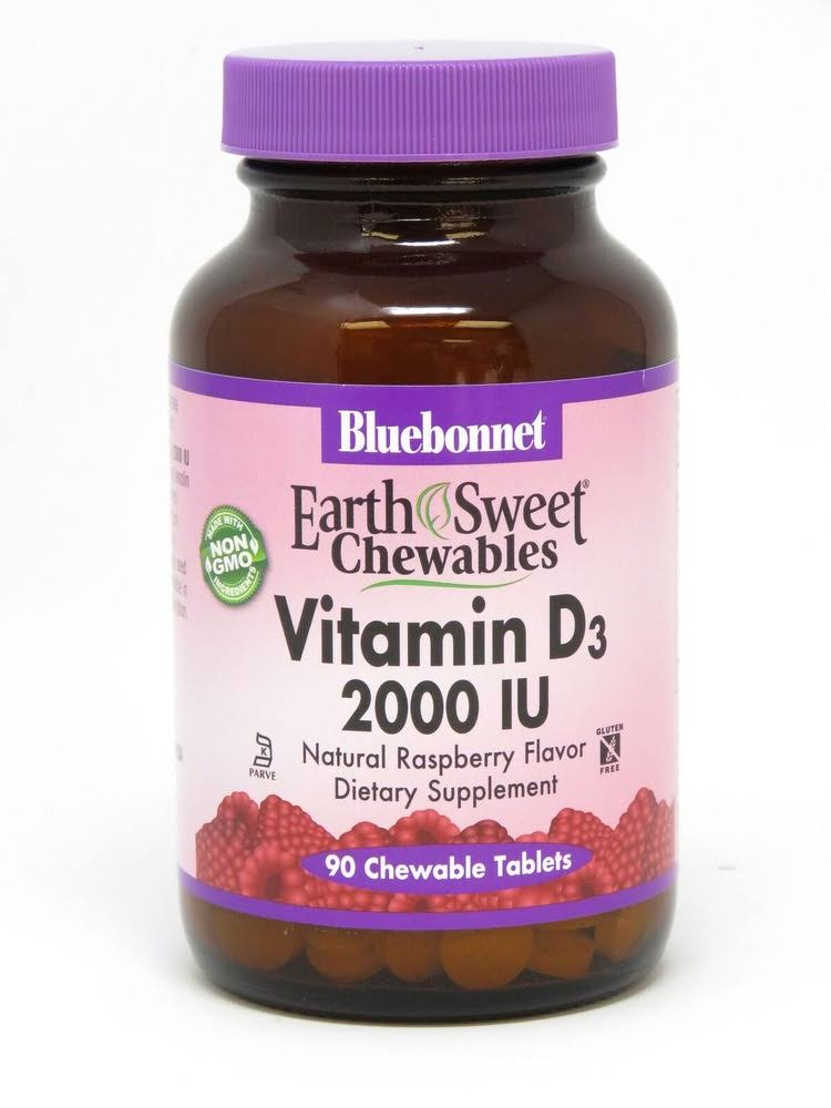 Bluebonnet EarthSweet Chewables Vitamin D3, 2000 IU, Natural Raspberry, Chewable Tablets - 90 tablets