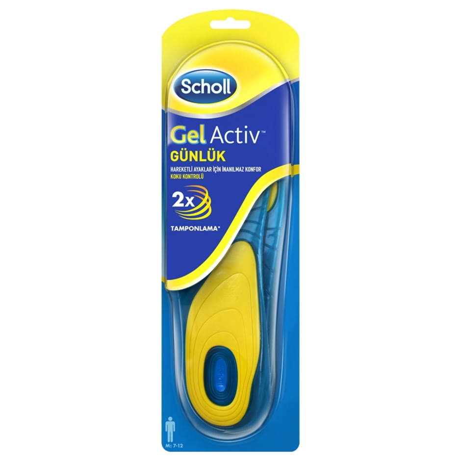 Scholl Men's Gel Activ Everyday Insoles - Yellow and Blue
