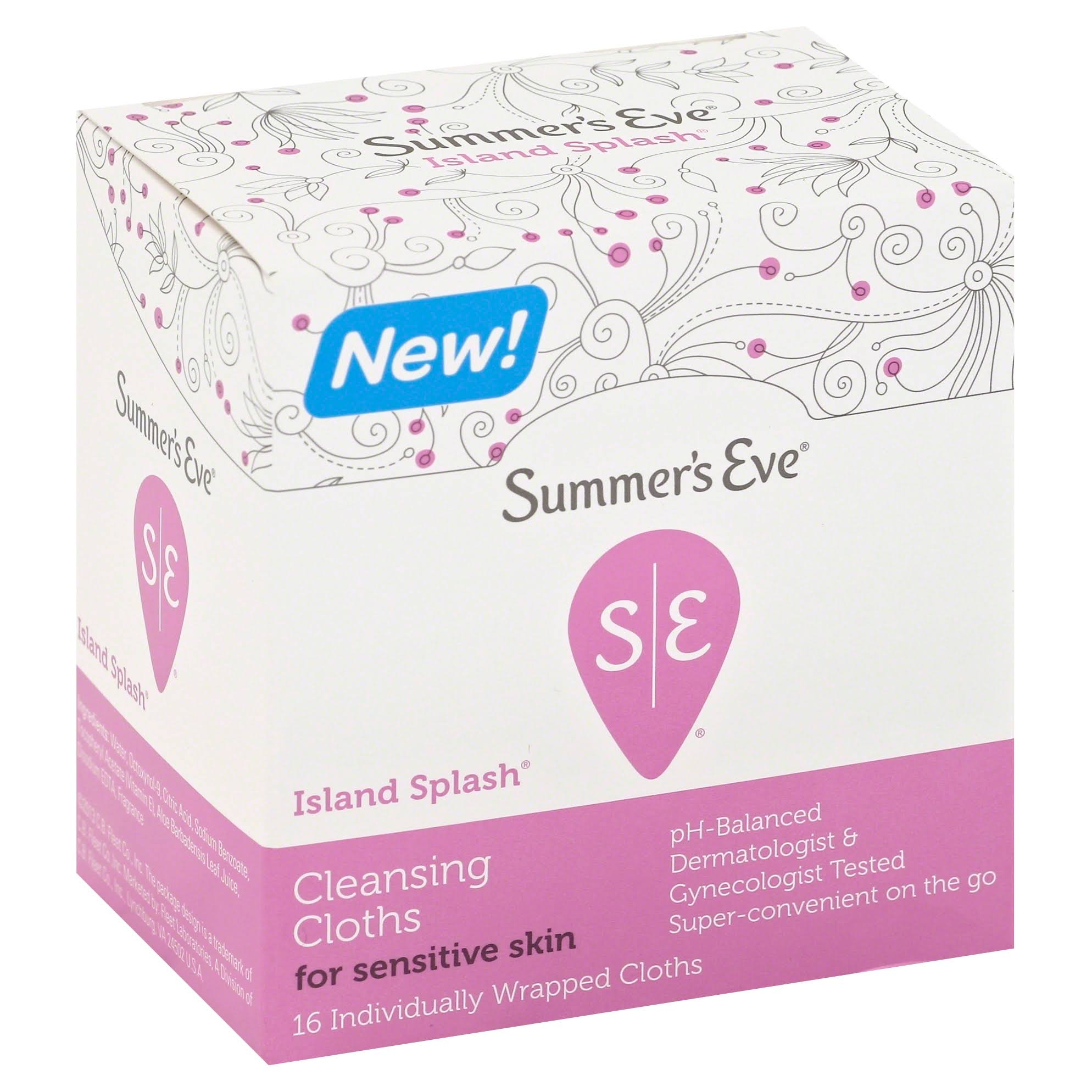 Summer's Eve Individually Cleansing Wrapped Cloths - Island Splash, 16 Pack