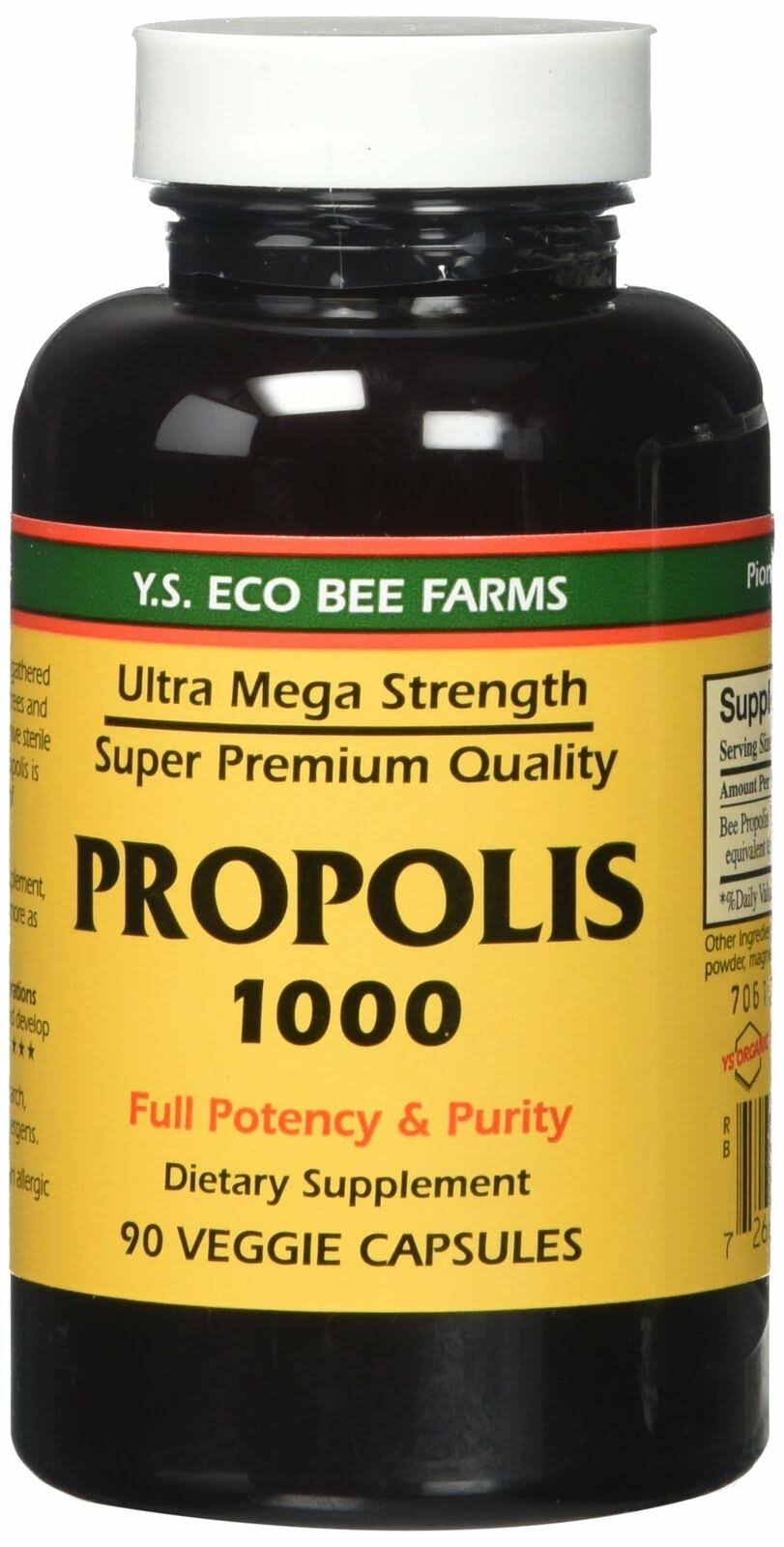 Y.S. Organic Bee Farms Propolis Supplement - 1000mg, 90 Capsules