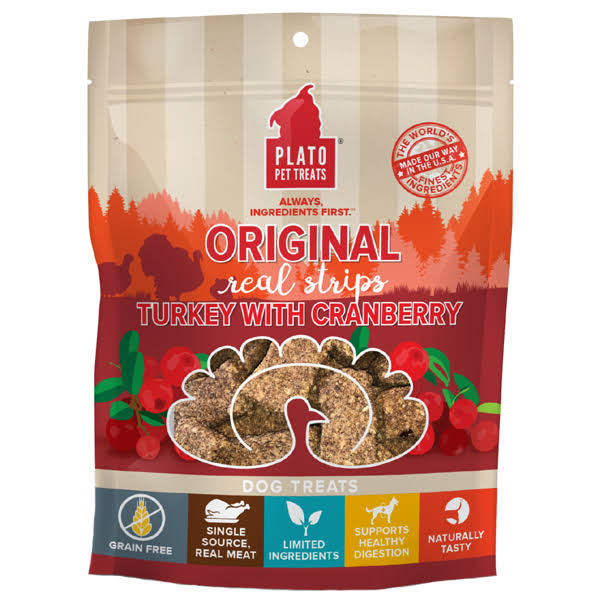 Plato Real Strips Turkey with Cranberry Dog Treats 18oz