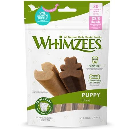 Whimzees Puppy Dental Dog Treats, X-Small/Small, 30 Count