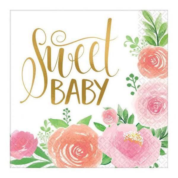 Amscan Shower Party Napkins Pack - Floral, Sweet Baby Girl, x8