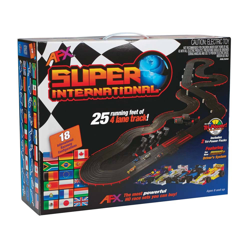AFX 21018 Super International Mega G+ 4 Lane Race Set - 25 Feet