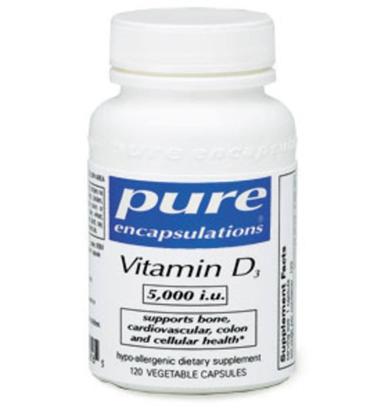 Pure Encapsulations Vitamin D3 5,000 IU Vegetable Capsules - x120