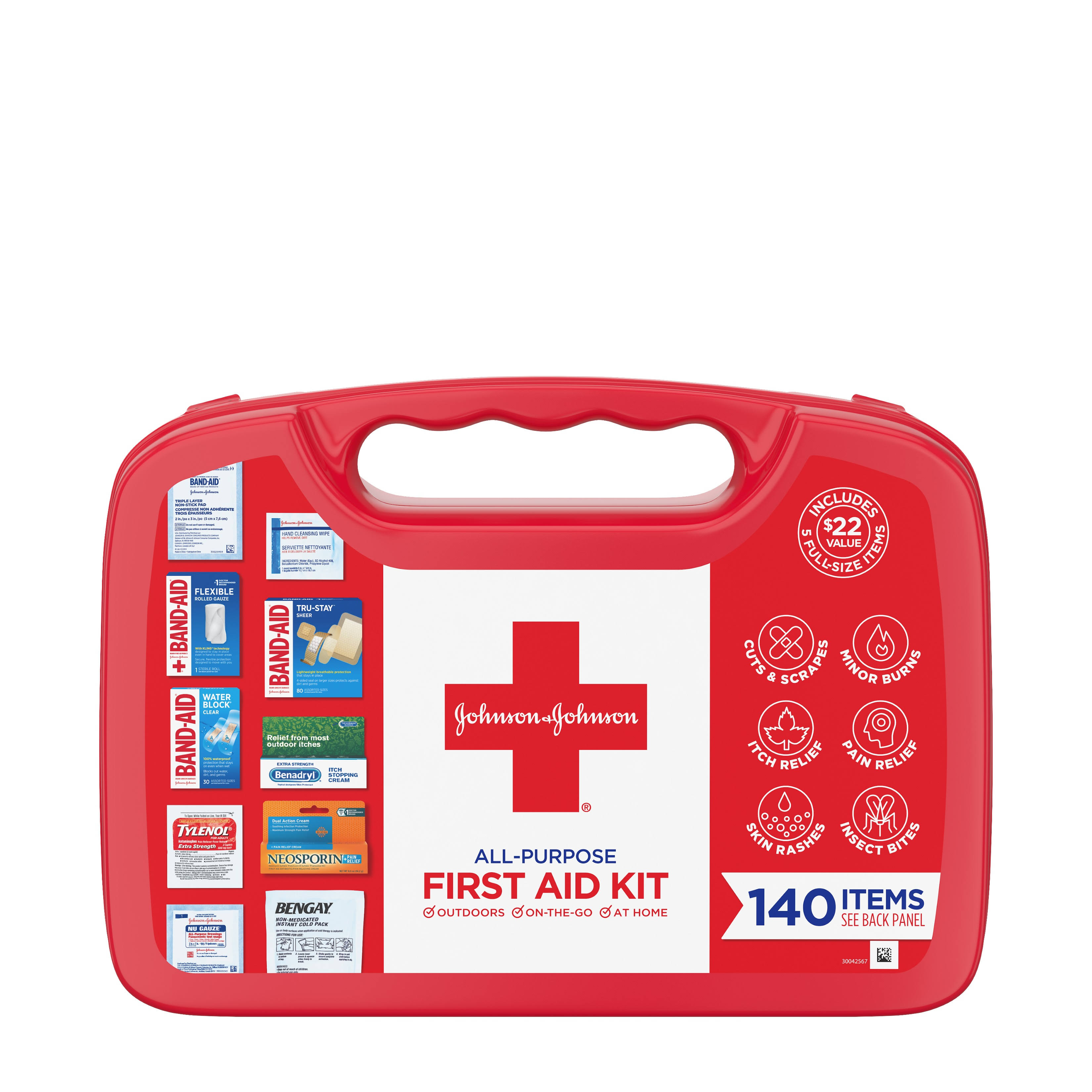 Johnson & Johnson All Purpose First Aid Kit - 140 Items