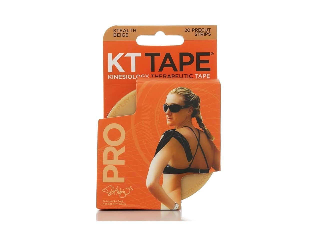 "KT TAPE PRO Synthetic Elastic Kinesiology Therapeutic Tape - Stealth Beige, 10"", 20 Pre-Cut Strips"