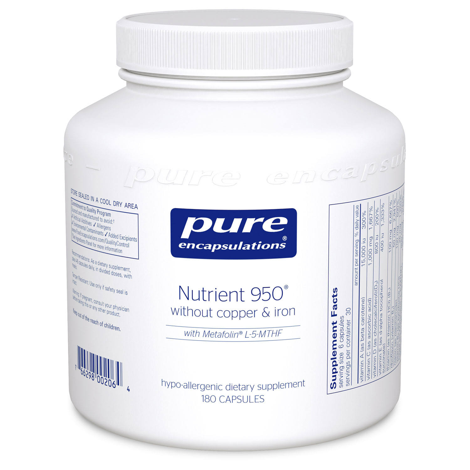 Pure Encapsulations Nutrient 950 Supplement - 180 Capsules