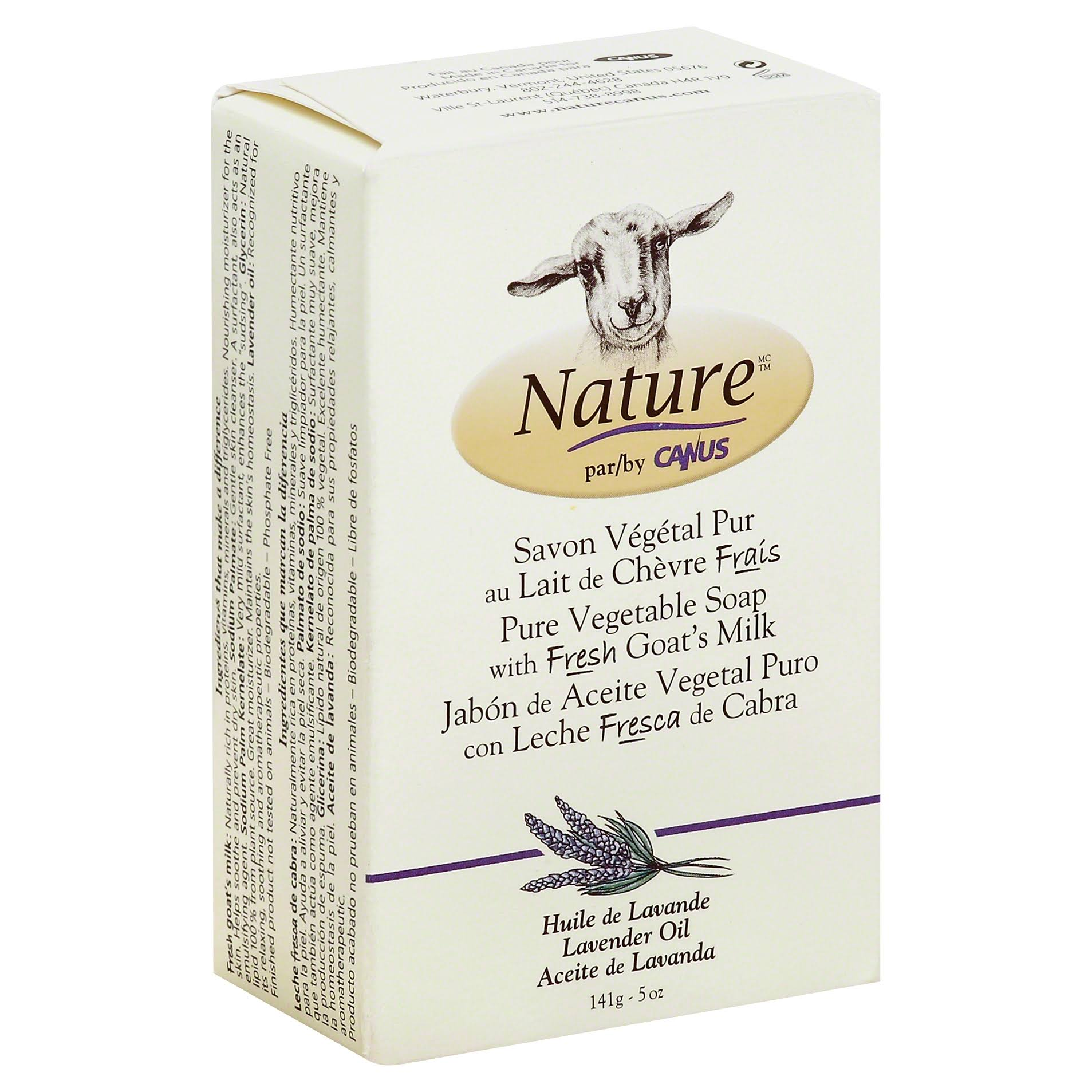 Canus Vermont Goat's Milk Natural Bar Soap - with Lavender Oil, 5oz