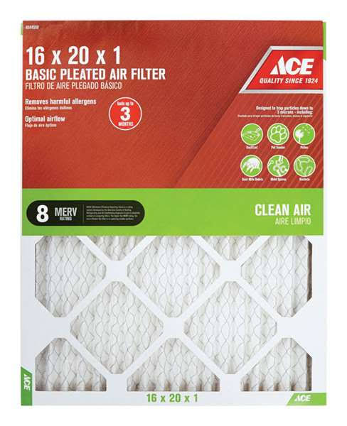 "Ace 16"" x 20"" x 1"" Pleated Furnace Air Filter"