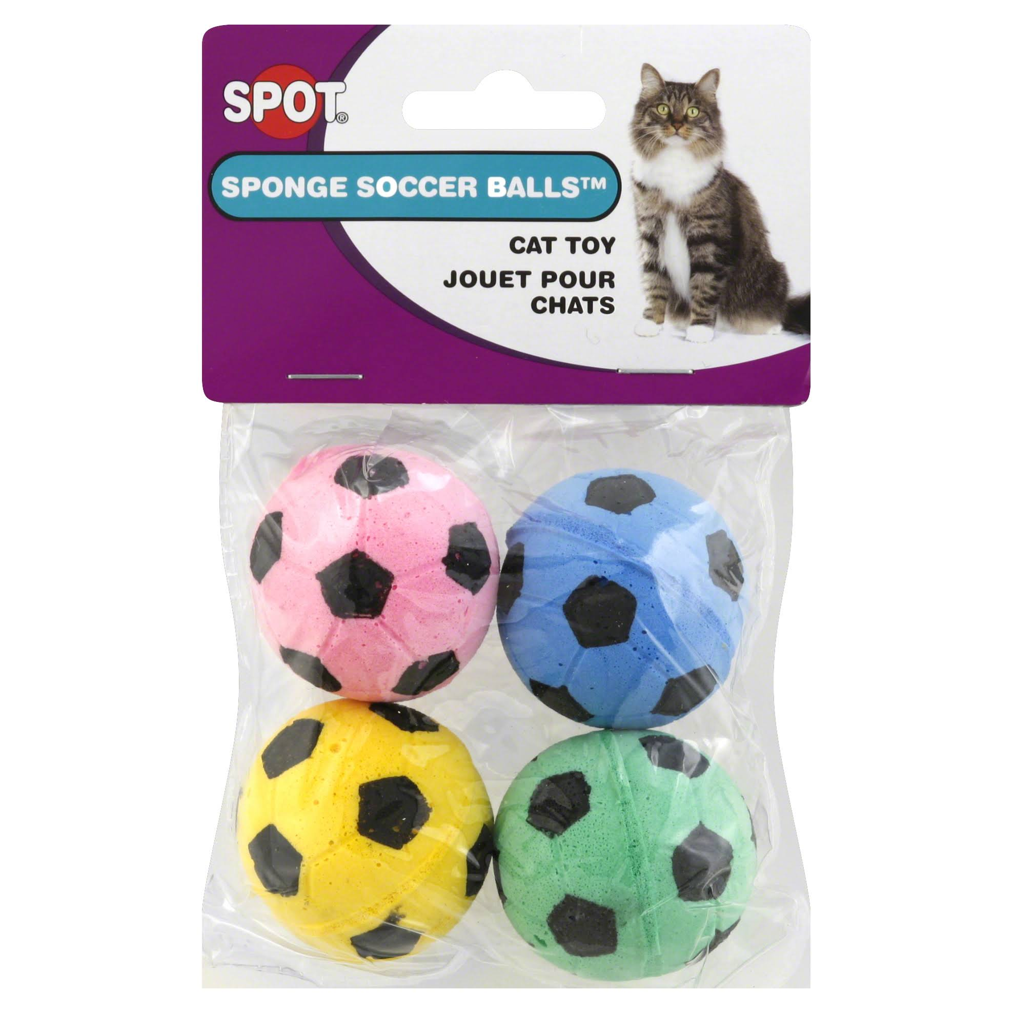 Spot Ethical Sponge Soccer Balls Cat Toy - 4pk