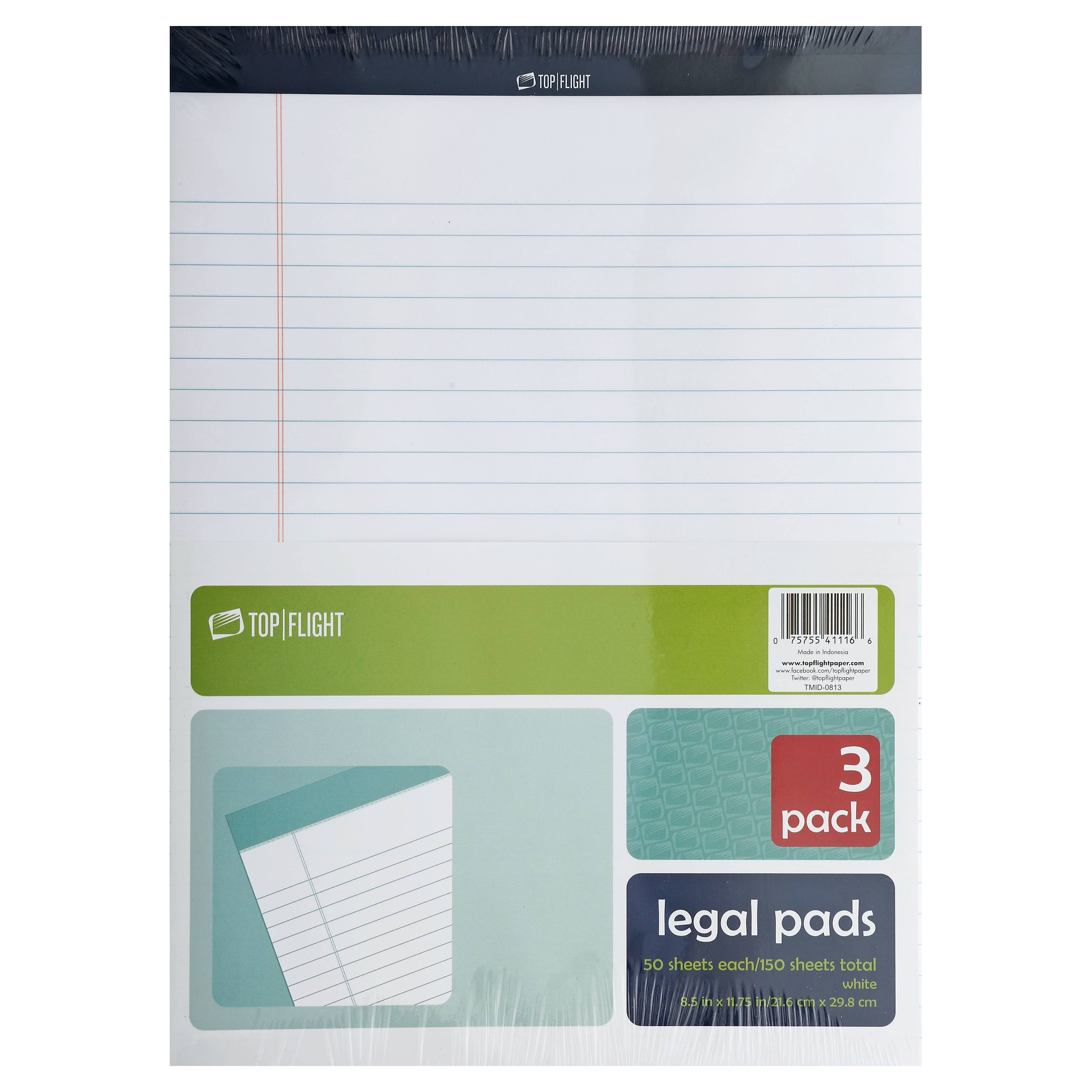 Top Flight Legal Pads, White, 3 Pack - 3 pads
