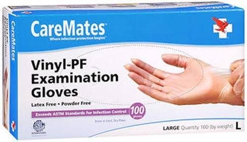 Caremates Vinyl-Pf Examination Gloves - Large, 100 Pieces