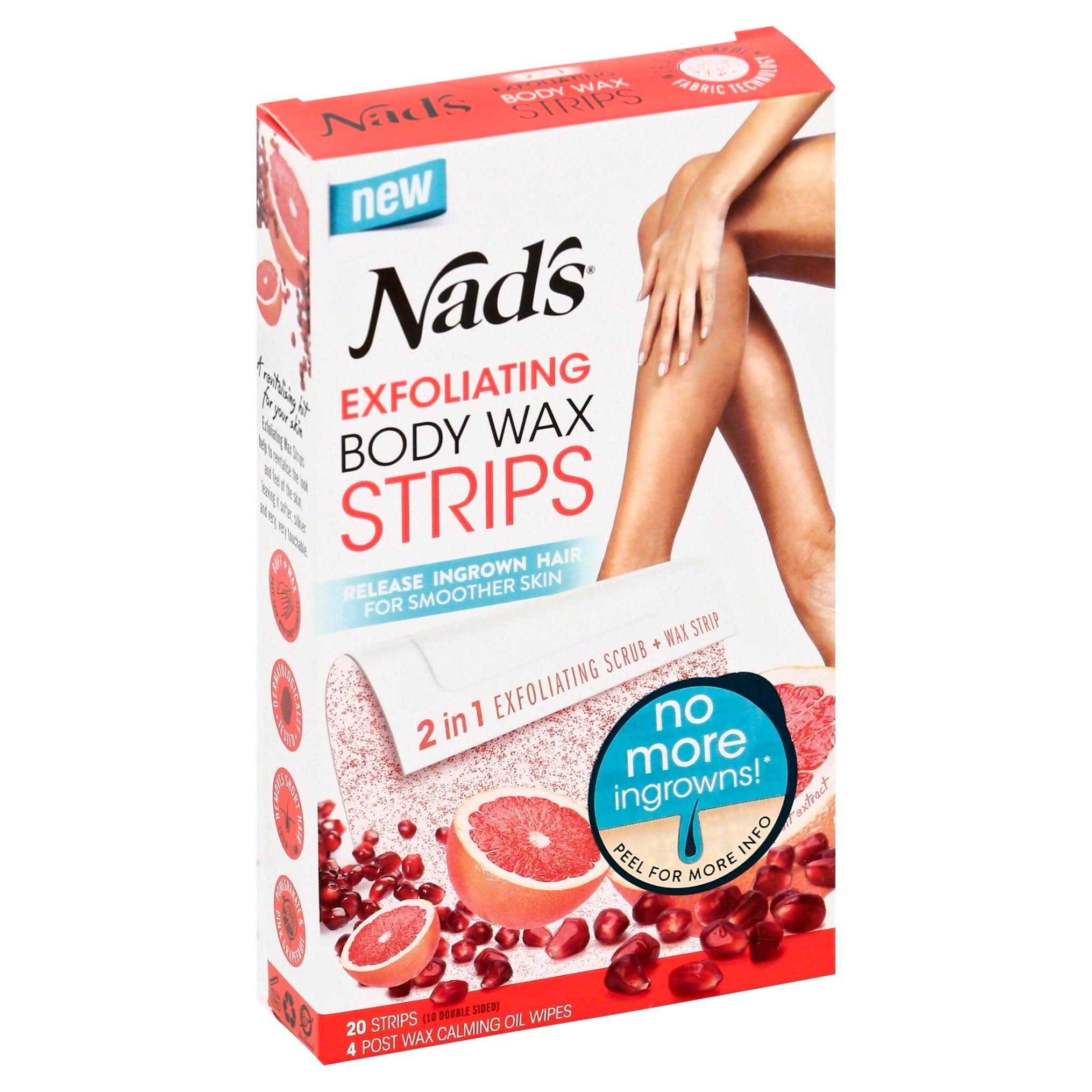 Nad's Ultra Smoothing 2 in 1 Hair Removal Exfoliating Body Wax Strips - 20 Strips