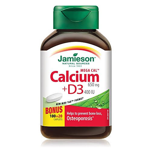 Jamieson Mega Cal Calcium with Vitamin D Supplement - 120 Caplets