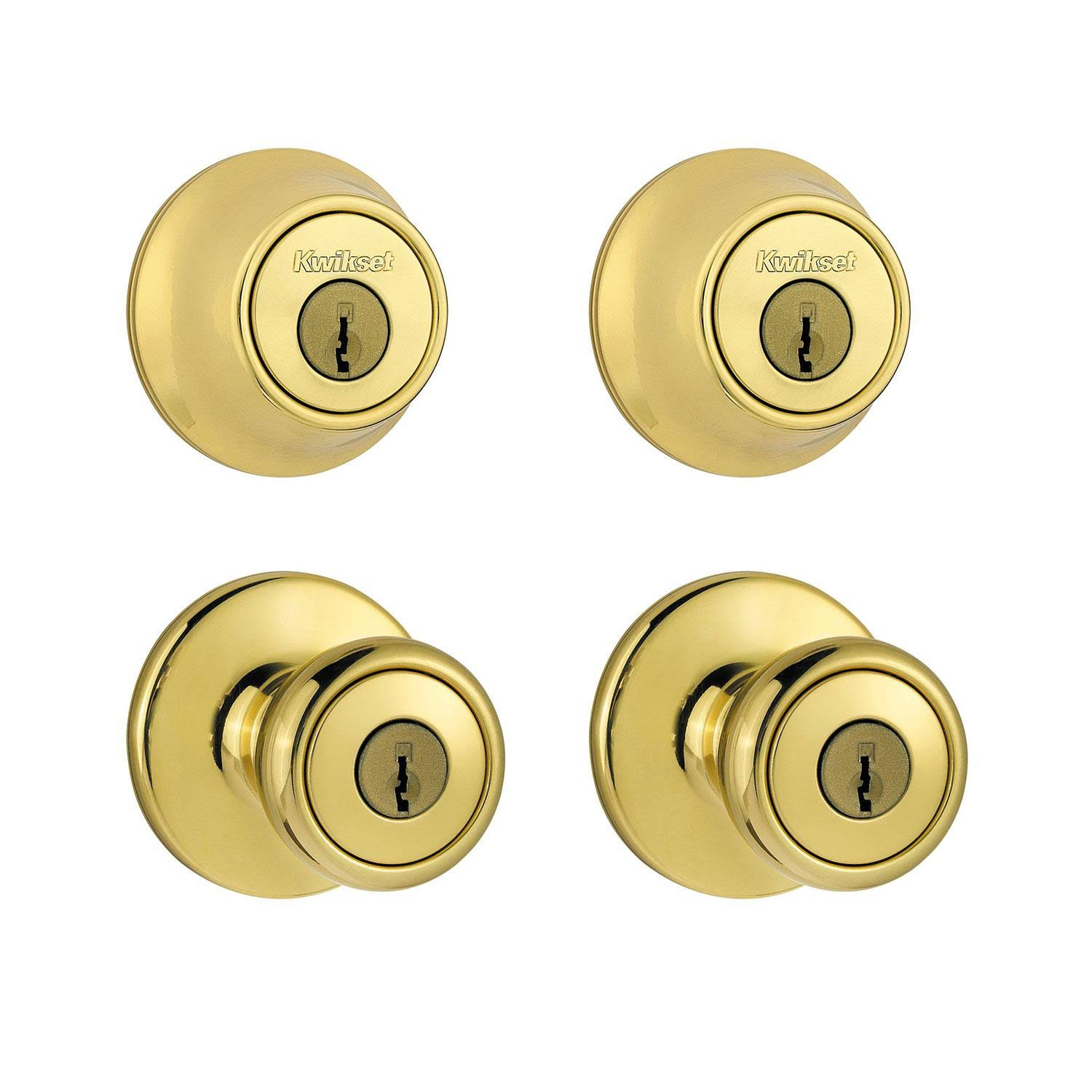 Kwikset Entry Locksets Tylo Knob, Polished Brass - 2 pack