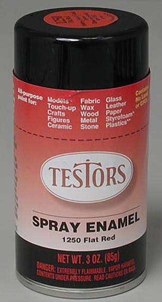 Testors - 1250T Spray Flat Red 3 oz. Enamel Paint