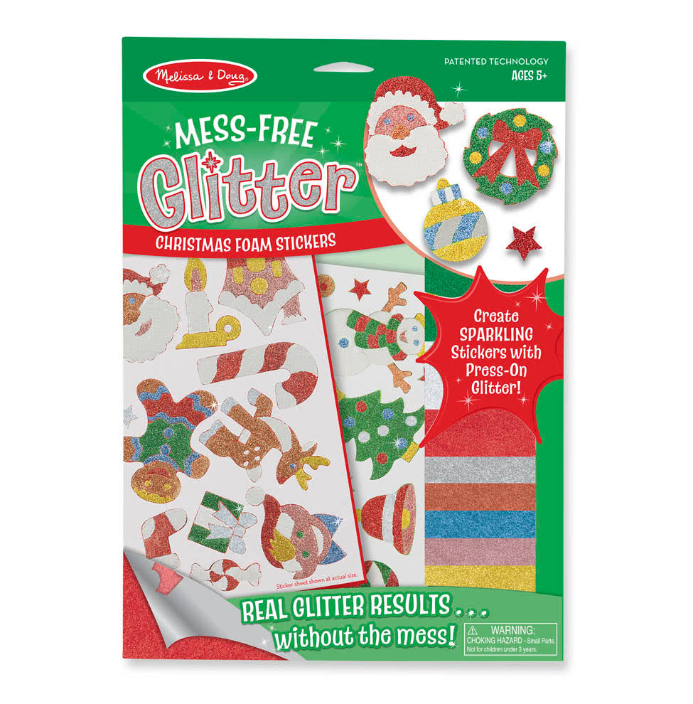 Melissa & Doug Mess Free Glitter Christmas Foam Stickers