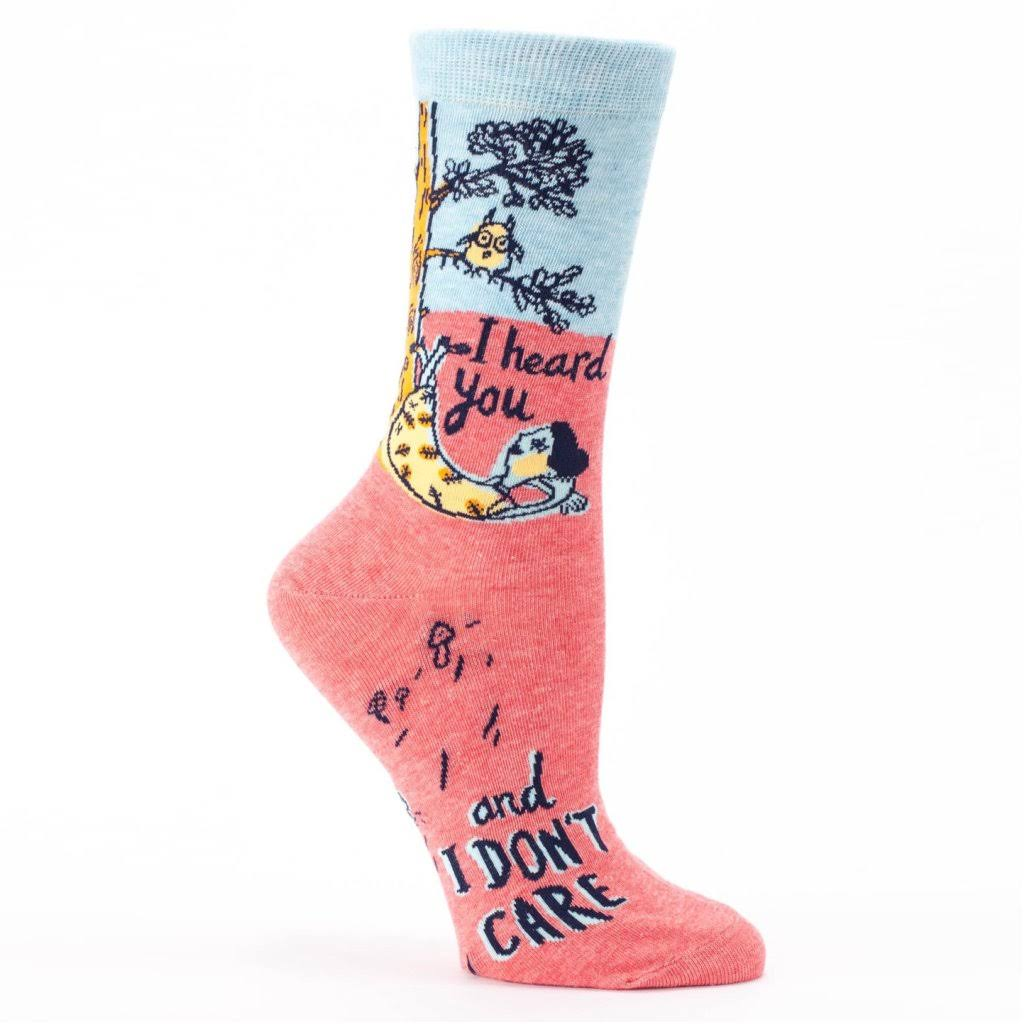 Blue Q Women's I Heard You, I Don't Care Crew Socks
