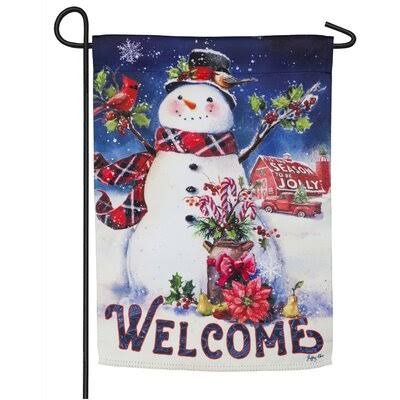 Evergreen Christmas Barn Snowman Suede Garden Flag