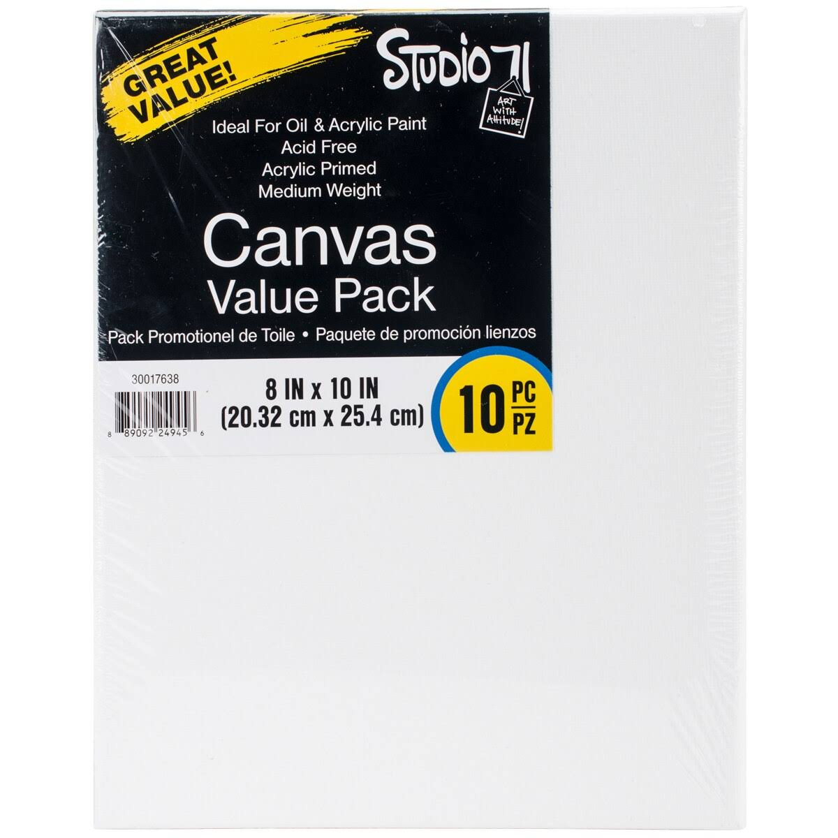 "Darice Studio 71 Traditional Canvas Value Pack - 8""x10"", 10ct"